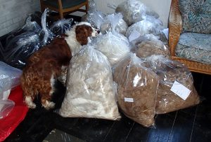 bags of alpaca fleece